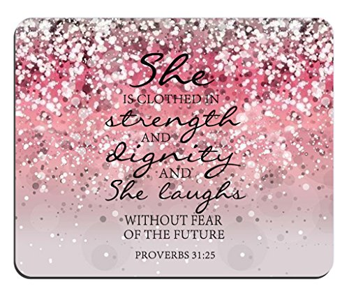 Pink Glitter Mouse Pad Bible Verse proverbs 31:25 She is Clothed in Strength And Dignity And She Laughs Without Fear of the Future Rectangle Non-Slip Rubber Mouse - Glitter Bible