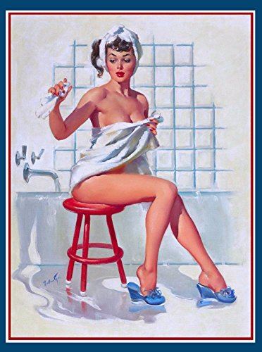 [1940s Pin-Up Girl Bath Time Picture Poster Print Vintage Art Pin Up. Poster measures 10 x 13.5] (1940s Pin Up Girl)