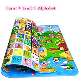Sytian® 180*120*0.5cm Non-slip & Waterproof & Eco-friendly Baby Care Mat Kids Play Mat Kids Crawling Pad Kids Playing Mat Kids Game Mat for Indoor and Outdoor Use (Farm + Fruit + Alphabet)