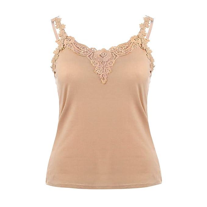 Camisa de Camisola sin Mangas con Cuello en V y Encaje sin Mangas para