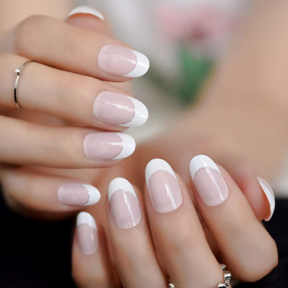 EchiQ uñas postizas francesas de color rosa natural, 24 unidades, línea plateada, uñas falsas ovaladas falsas de imitación para oficina, ...