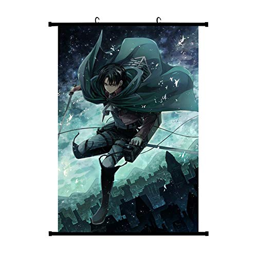 HomMall Japanese Anime Poster Wall Scroll Hanging Paintings Art Painting Wall Scroll Poster(Attack on Titan-1)