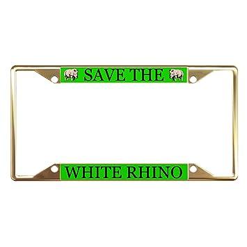 Amazon com: Save The White Rhino Animal Gold License Plate