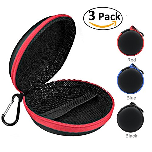 3 Pack Headphones Earbuds Case,Multifunction Hard Trip Carrying Pouch,Wireless On-Ear Waterproof Zipper Hard Travel Portable Protective Travel Storage Bag For Bluetooth/MP3/Cable/USB Flash Disk/iPod