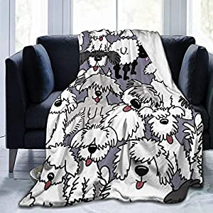 Comfy Soft Sherpa Flannel Fleece Throw Wrap Cover Robe for Bed Couch Chair Living Room, King Size Wearable Blanket Cloak - Old English Sheepdogs 9