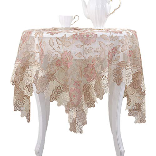 Lace Polyester Round Tablecloth Embroidery Round Table Cloths for Party Wedding Kitchen Dining Home Decorations, Round - 48