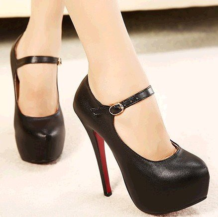 Sexy Leather Buckle (Sexy Women's Faux Leather High Heels Stiletto Ankle Strap Buckle Pumps (Black With Buckle, US)
