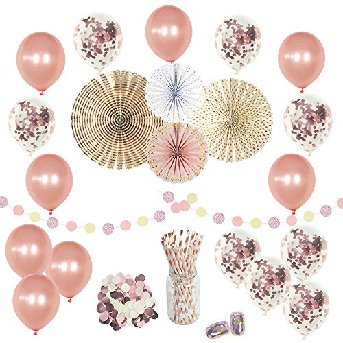 Pink and Rose Gold Birthday Party Decorations Supplies Set-(50 pc) - Confetti Balloons 12 in- Perfect for Girls Birthday Baby Bridal Wedding Shower Engagement Graduation Celebration Bachelorette ()