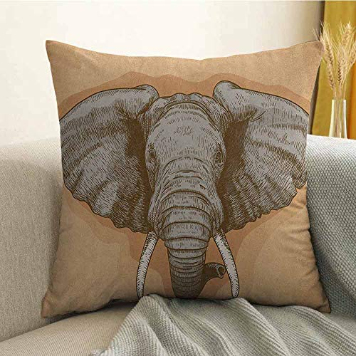 Sonora Almond - FreeKite Elephant Bedding Soft Pillowcase Illustration of Engraving Wild Elephant Head in Retro African Animal Nature Boho Hypoallergenic Pillowcase W20 x L20 Inch Grey Almond