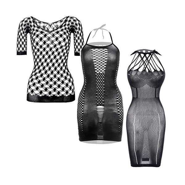GVIANCXI 3 Pack Robes en Résille Robes Lingerie Résille Vêtements de Nuit Résille Creux pour Faveur des Femmes Noir