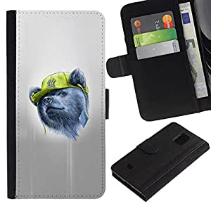 All Phone Most Case / Oferta Especial Cáscara Funda de cuero Monedero Cubierta de proteccion Caso / Wallet Case for Samsung Galaxy S5 Mini, SM-G800 // Gangsta Bear