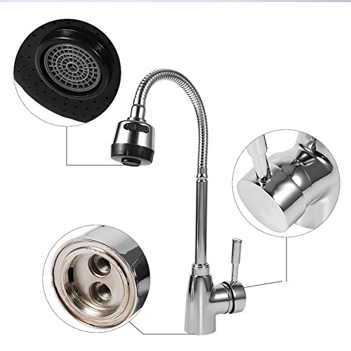 Zinc Gooseneck - TOPINCN Zinc Alloy Swivel Spout Kitchen Sink Faucet Single Handle Mixer Cold and Hot Tap