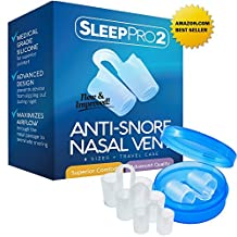 Premium Anti Snore Nose Vents Sleep Aid Device by SleepPro - Stop Snoring Naturally and Instantly - #1 Snore Stopper On The Market! 4 Sizes Included