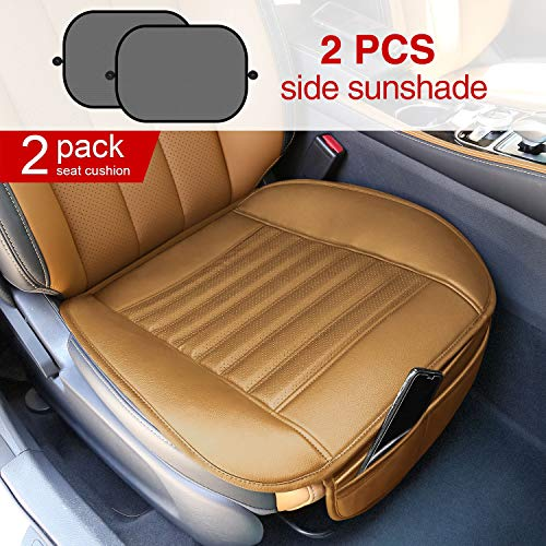 (Modokit Car Front Seat Covers 2pcs Leather Car Seat Protector Mat Pad Waterproof Breathable Seat Cushion for Auto Supplies Office Chair with 2 Sun Shades for Car Window(Beige))
