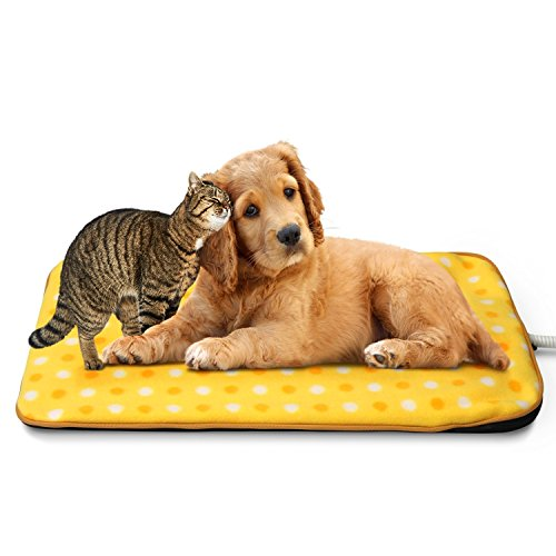 """Fluffy Paws Indoor Pet Bed Warmer Electric Heated Pad with Free Cover (Dual Temperature & UL Certified), Yellow Dot Small - 12.3"""" x 18"""""""