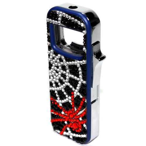 Spider Simulated Rhinestones with Flashing LED Lights and Bottle Opener Refillable Butane Lighter 3 1/4 Inch Flashing Lighter