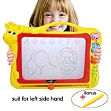 Kids Magnetic Drawing Board Doodle Writing Board -Xl Size Colorful Erasable Sketch Pad Toy for Toddler Preschool Development Toy with Stampers and Bonus Pen (Yellow, XL)