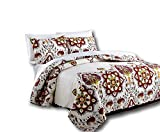 DaDa Bedding Collection Casablanca Elegant Bohemian Quilted Coverlet Bedspread Set - Bright Vibrant Floral Paisley Multi Colorful White & Red - Queen - 3-Pieces.