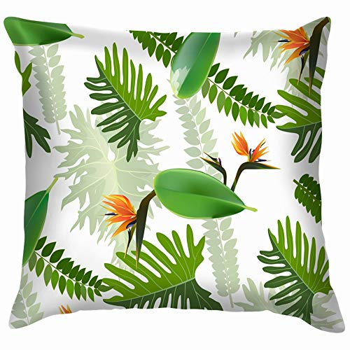 Tropical Leaf Invitation Greeting Nature Funny Square Throw Pillow Cases Cushion Cover for Bedroom Living Room Decorative 20X20 -