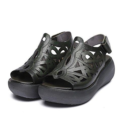Suela Explosión Xiaoqi Gruesa De Huecas Madre 2018 Cuero Retro Negro Nuevas Modelos Femenina Sandalias Zapatillas Verano 58pxBB