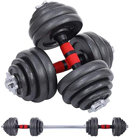 Nice C Adjustable Dumbbell Set, 22/33/44/66/105 Lbs Metal Barbell 2 in 1 Weight Pair, Anti-Slip Handle, All-Purpose, Home, Gym, Office, Fitness