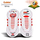 Sports Outdoors Kids Best Deals - Coolnice® No Tie Shoelaces for Kids Outdoor Sports 18pcs- Environmentally Safe silicone - Lazy Shoestrings-White Color