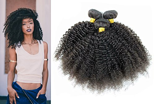 Babe Hair Afro Kinky Curly Brazilian Virgin Hair Weave 3 Bundles 100% Human Hair 7A Unprocessed Black Hair Extension Full Head Small Tight Curl (10 10 10 inch, Natural (Tights Babe)