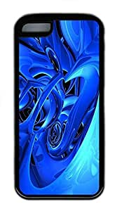 for iphone 4/4s Case Blue Abstract Id02 TPU Custom for iphone 4/4s Case Cover Black
