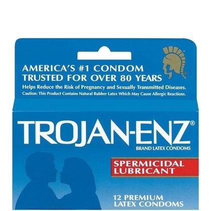 Trojan-Enz Spermicidal Lubricant Premium Latex Condoms 12 ct (Quantity of (Trojan Spermicidal Lubricant)