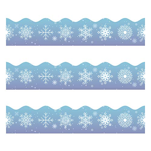 Snowflake Bulletin Borders Stickers, 50 ft Christmas/Winter Decoration Borders for Bulletin Board/Black Board/Chalkboard/Whiteboard Trim, Teacher/Student Use for Holiday Classroom/School Decoration