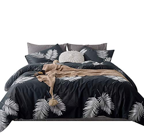 SUSYBAO 3 Pieces Duvet Cover Set 100% Natural Cotton Queen Size White Leaf Bedding with Zipper Ties 1 Black Botanical Print Duvet Cover 2 Pillowcases Luxury Quality Soft Comfortable Stain Resistant