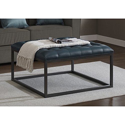 Healy Teal Leather Living Room Metal Custom Rectangular Contemporary Tufted Ottoman