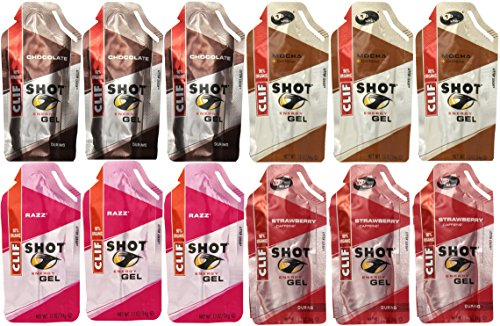 Clif Shot Gel 90% Organic Variety Bundle -12 pack – 3 of Each Flavor