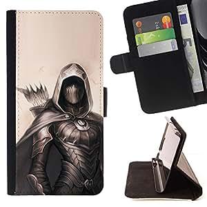 """la tarjeta de Crédito Slots PU Funda de cuero Monedero caso cubierta de piel Samsung Galaxy E5 E500 , ( Archer Pintura Negro héroe Beige Flecha"""" )"""