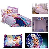 Disney Frozen Love Blooms Reversible Twin Bed Set with Standard Plush Pillow & 3' Projectable Night Light