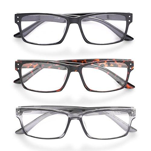 Inner Vision 3-Pack Reading Glasses Set w/ Spring Hinges for Men & Women - (2.5 x Magnification) - 3 Clear Lens Readers (Neutral Color - Glasses Bulk Reading