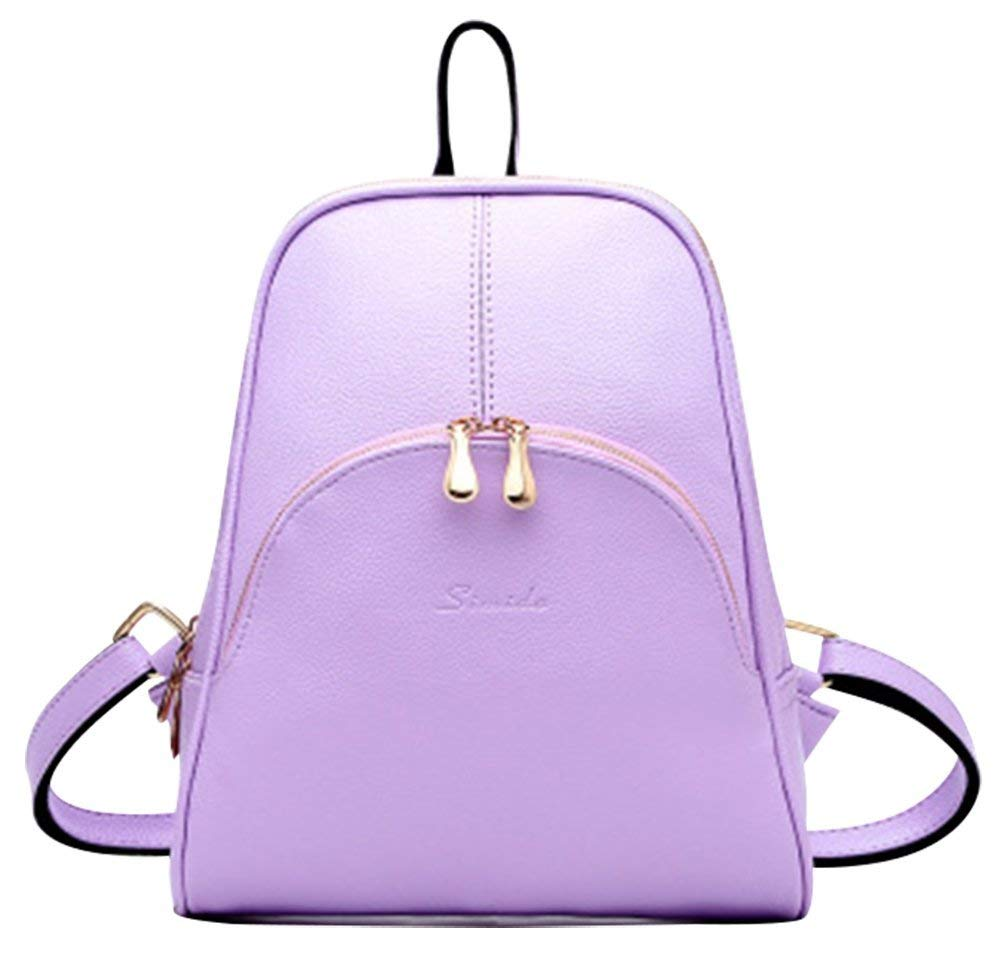 Purple Cartoon Backpack Miss Girls PU Leather Preppy Preppy Preppy