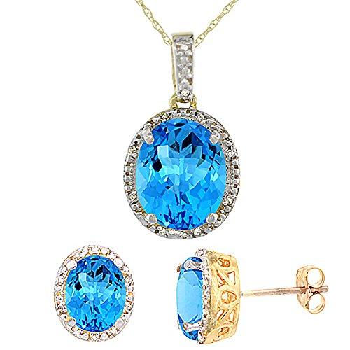 Jewellery World Bague en or jaune 9carats avec Topaze bleue Suisse ovale naturel Boucles d'oreilles et pendentif Set Accents de diamant