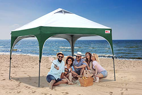 MASTERCANOPY Patio Pop Up Commercial Canopy 10x10 Beach Canopy Better Air Circulation Canopy with Wheeled Backpack Carry Bag (Grey with Green)