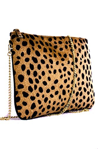 Leopard Synthetic Fur Design with Chain Strap Clutch Bag HD1969 (Leopard Clutches)