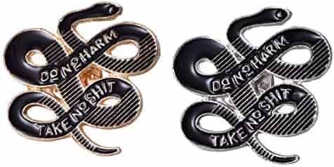 a935a21d6 Ralukiia 2PCS Do No Harm Take No Shit Enamel Lapel Pin Snake Brooches