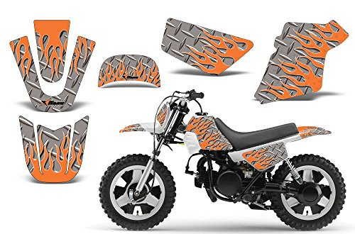 Diamond Flames-AMRRACING MX Graphics decal kit fits Yamaha PW50 All years-Orange-Silver-BG