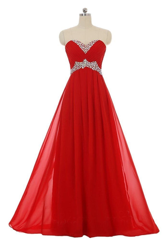 Snowskite Sweetheart Long Chiffon Beading Holiday Party Formal Prom Dress Red 14