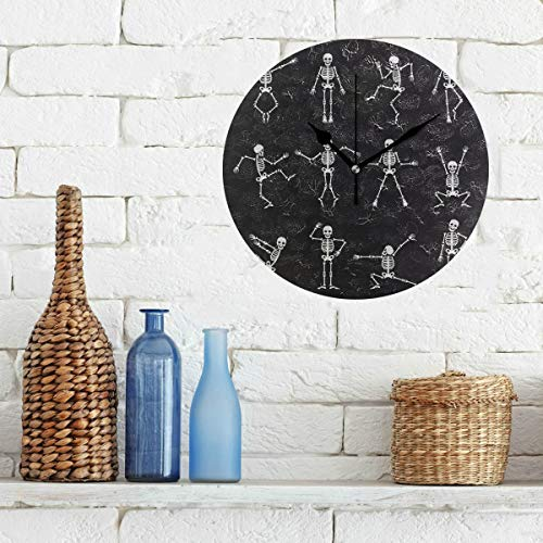 Limiejo Kitchen Wall Clock Black White Dead Dance Skeletons Wallpaper Non-Ticking Round Silent Diamond Display Wall Clocks Painting Dial Kitchen Bedroom Decor Wall Clock School