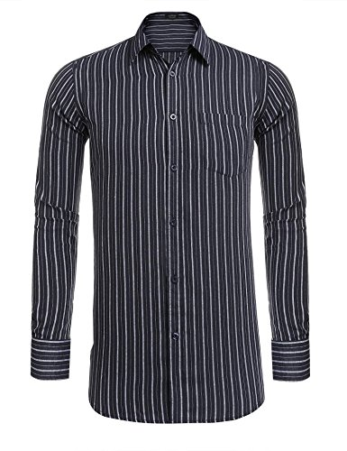 (COOFANDY Men's Casual Long Sleeve Business Vertical Striped Collar Button Down Dress Shirt Navy Blue Large,Navy Blue,Large)