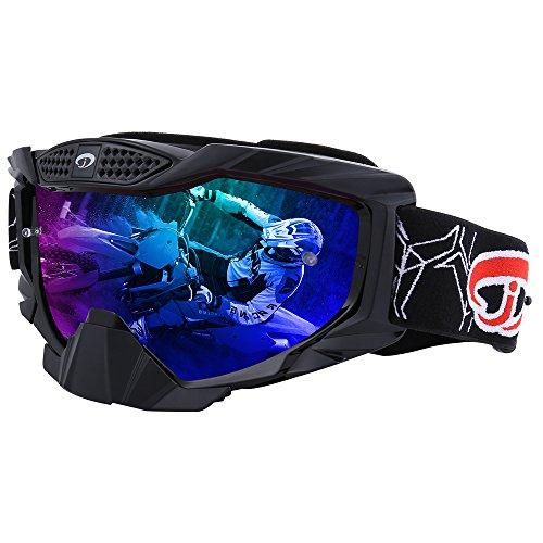 (JIEPOLLY Motocross Goggles, ATV Dirt Pit Scooter Motorcycle Helmet Goggles Tear Off Lens for Adlut Women Men)