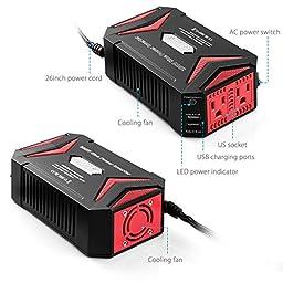BESTEK 300W Power Inverter DC 12V to AC 110V Pure Sine Wave Inverter with 4.2A Dual Smart USB Ports Car Adapter