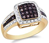 14K Yellow and White Two Tone Gold White and Chocolate Brown Diamond Halo Engagement OR Fashion Right Hand Ring Band - Square Princess Shape Center Setting w/ Channel Set Round Diamonds - (1/2 cttw)