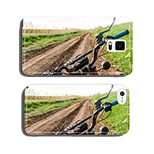 Classic old motorcycle on a dirt road. cell phone cover case iPhone5