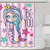 Extra Long Pink Shower Curtain Tititex Shower Curtain Pink Long Hair Crown Mermaid Girl Be You Letter Pattern Cartoon Polyester Waterproof Shower Curtains for Bathroom 69 X 70 Inch